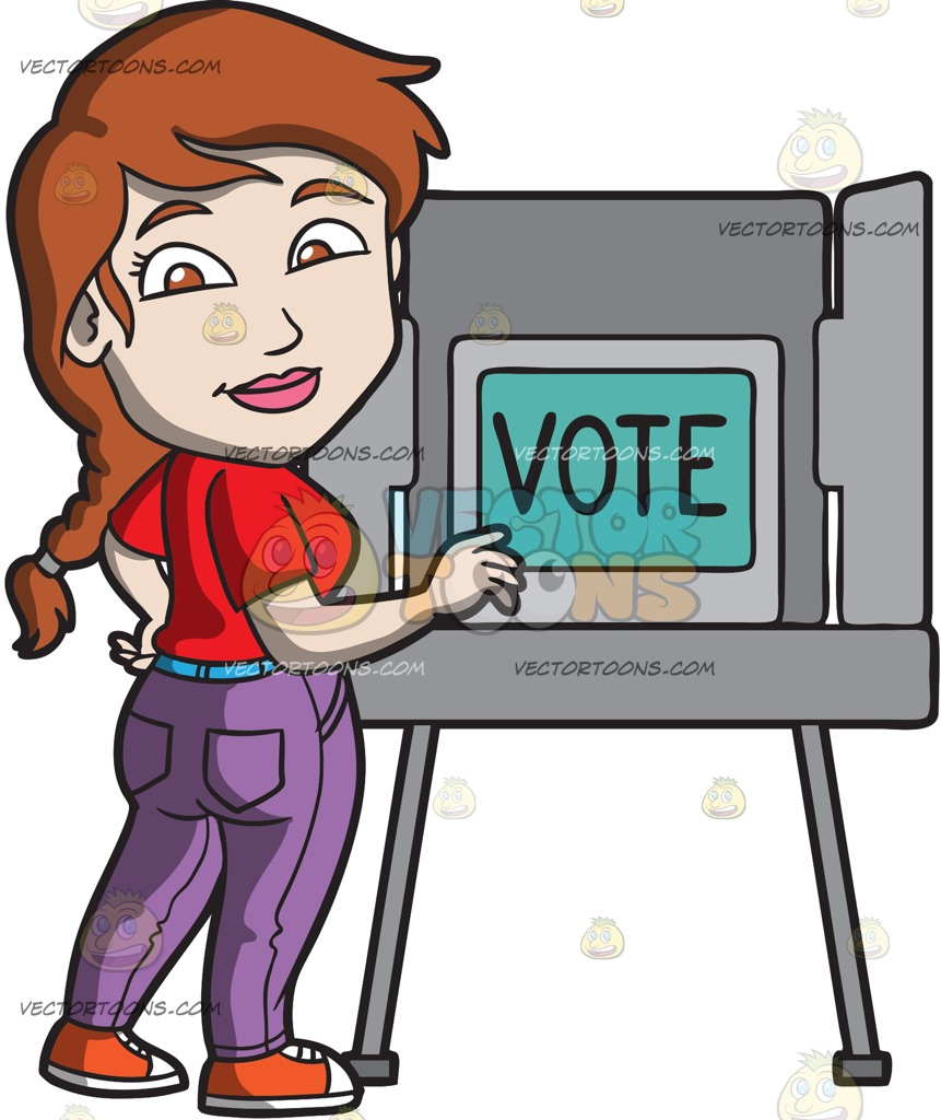 861x1024 A Woman Gets Ready To Vote During The Election Cartoon Clipart