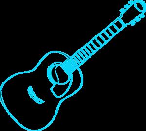 300x270 Guitar Outline Blue Clip Art