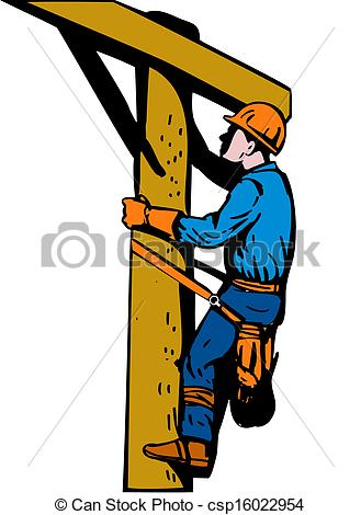 329x470 Power Lineman Electrician. Illustration Of A Power Lineman