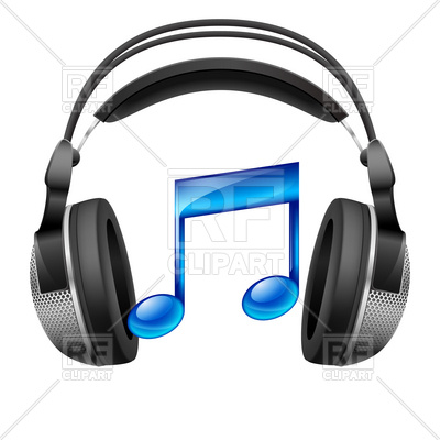 400x400 Realistic Headphones And Musical Note Royalty Free Vector Clip Art