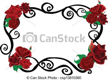 450x335 Roses Swirl Elegant Frame Clip Art Vector
