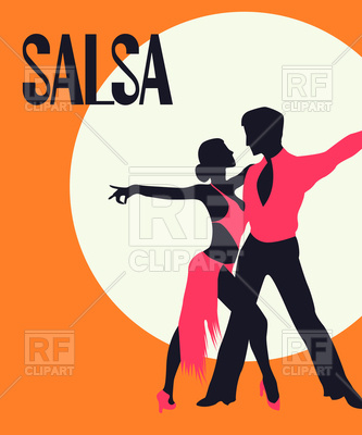 333x400 Salsa Poster. Elegant Couple Dancing. Retro Style Royalty Free