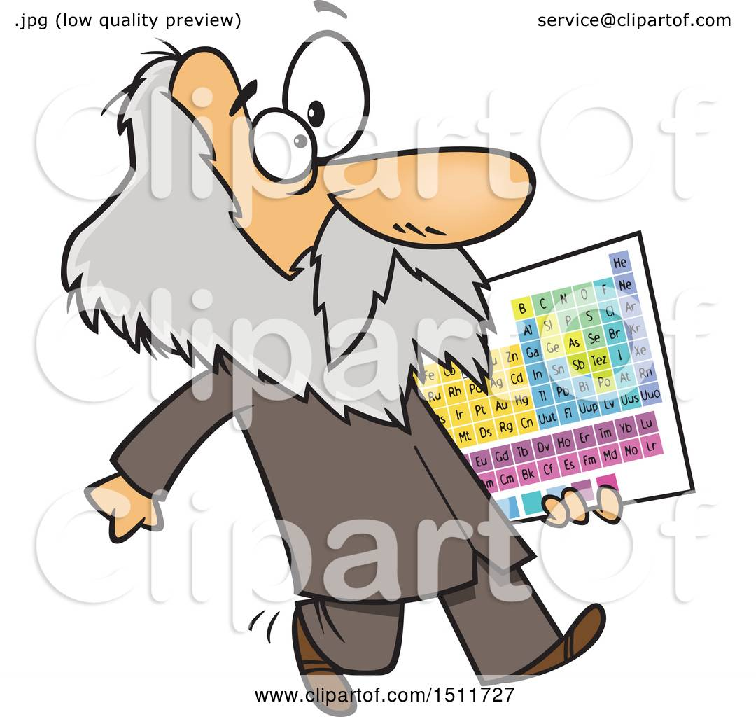1080x1024 Clipart Of A Cartoon Man, Dmitri Mendeleev, Carrying The Periodic