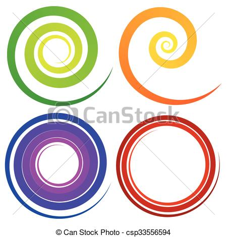 450x470 Curly Spiral Shapes. Colorful Design Elements. Vector. Eps Vectors