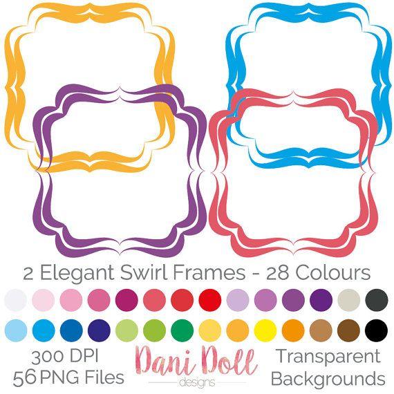 570x570 56 Elegant Swirl Frames Clipart Elements Coloured Png 300 Dpi