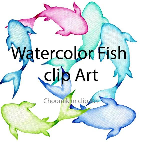 570x570 6 Watercolour Fish, Koi Illustration Clipart, Clip Art Instant