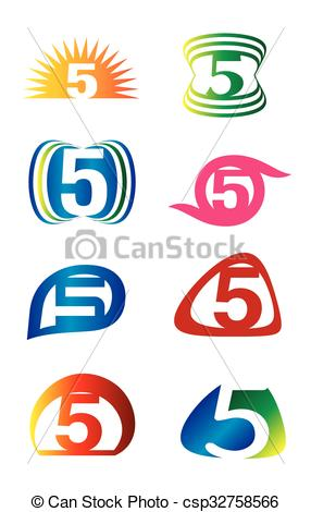 286x470 Number Five 5 Logo Icon Template Elements Set Clip Art Vector