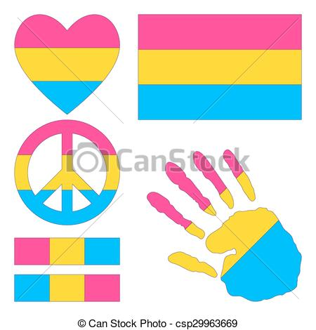 450x470 Pansexual Pride Design Elements. Pansexual Pride Flag, Clip Art