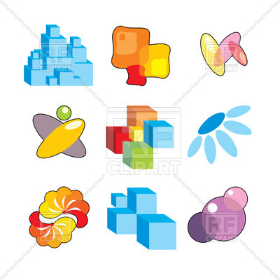 400x400 Simple Design Elements And Abstract Icons Royalty Free Vector Clip