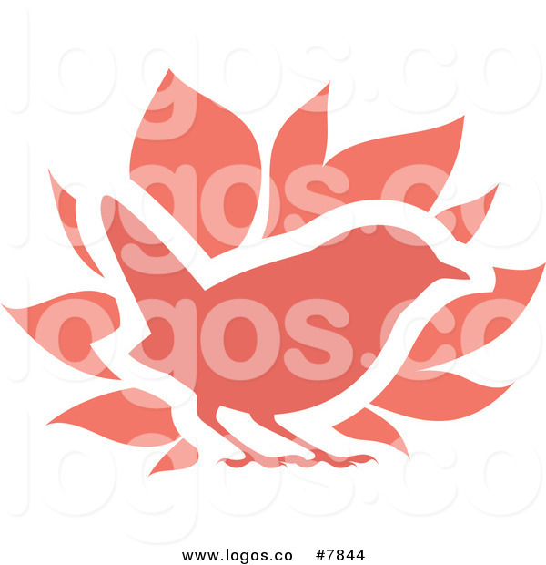 600x620 Royalty Free Clip Art Vector Logo Of A Red Bird And Leaves By