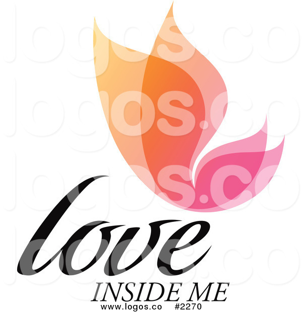 600x620 Royalty Free Colorful Love Inside Me Text With Butterfly Logo By