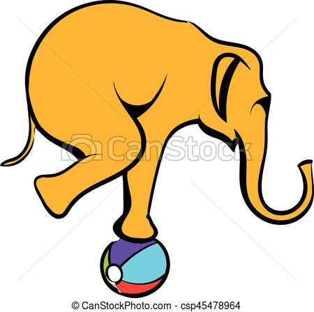 450x448 Circus Elephant The Ball Icon Cartoon. Circus Elephant