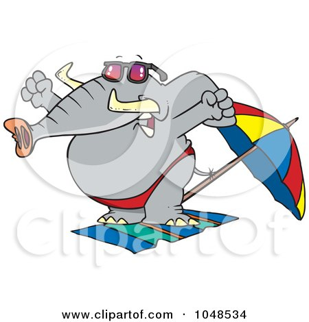 450x470 Clipart Of A Cartoon Party Elephant Blowing His Trunk Like A Horn