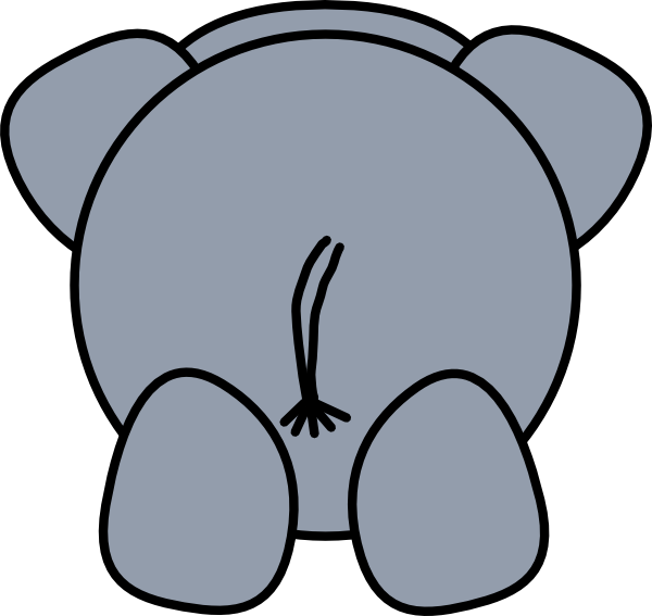 600x567 Elephant Rear Clip Art