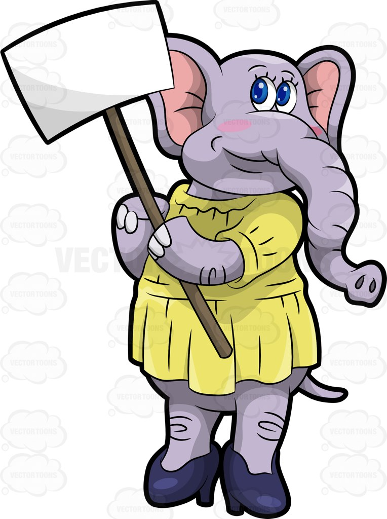 764x1024 Emma The Elephant Holding A Sign Board Cartoon Clipart Vector Toons