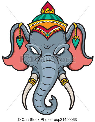 365x470 Vector Illustration Of Elephant Head Clip Art Vector