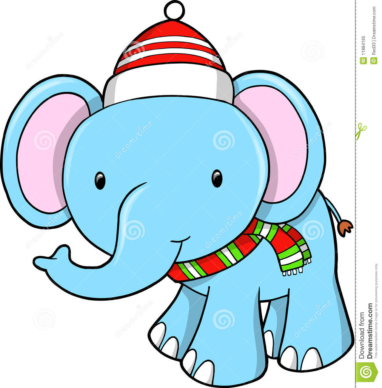 1280x1300 White Elephant With Santa Hat Clip Art At Clker Com Vector