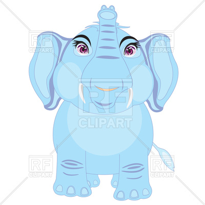 400x400 Cartoon Elephant Front View Royalty Free Vector Clip Art Image