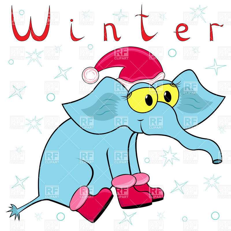 800x800 Cheerful Cartoon Elephant In Santa's Hat And Winter Boots Royalty