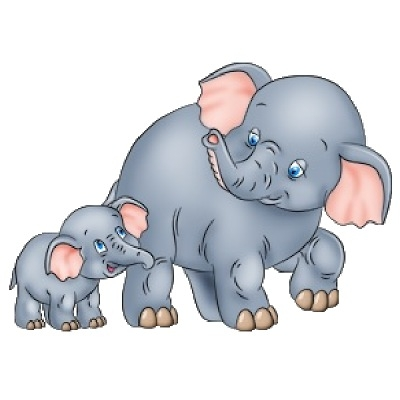 400x400 Mother And Baby Elephant Clipart