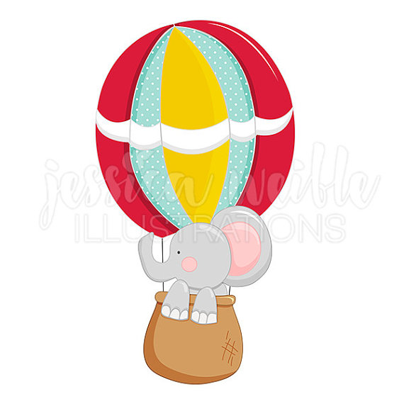 570x570 Up And Away Elephant Cute Digital Clipart, Hot Air Balloon Clip