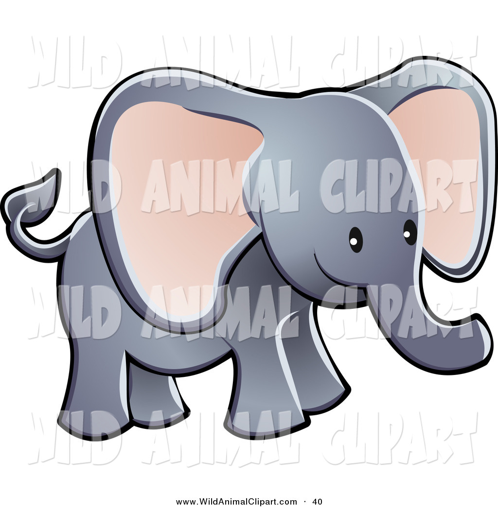 1024x1044 Clip Art Of A Young Adorable Gray Elephant With Big Pink Ears