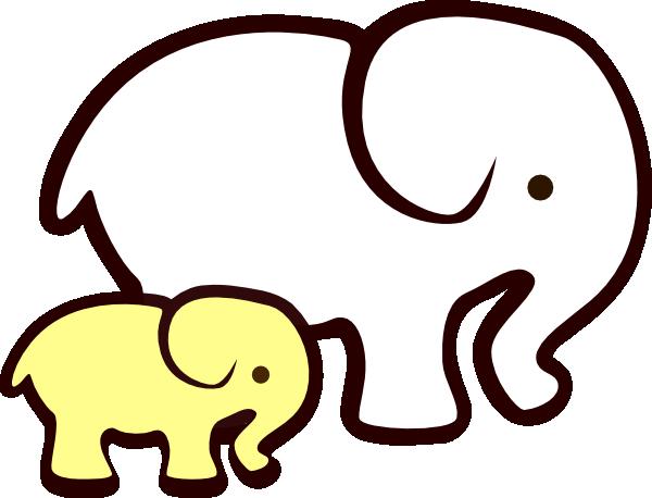 600x458 Yellowwhite Elephant Mom Amp Baby Clip Art