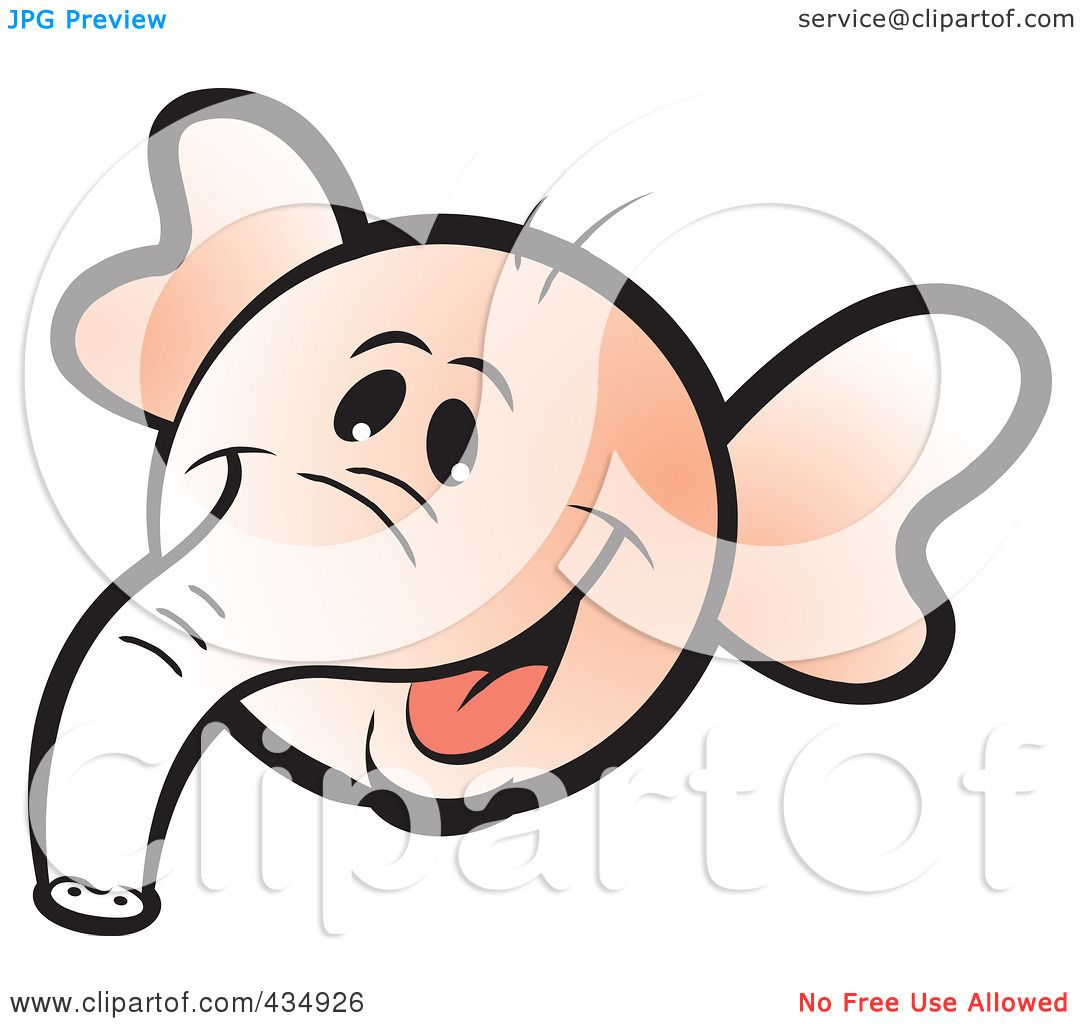 1080x1024 Royalty Free (Rf) Clipart Illustration Of A Pink Elephant Face By
