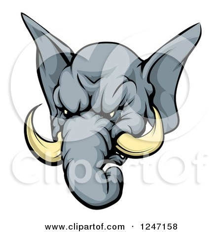 450x470 Clipart Of A Black And White Aggressive Elephant Breaking Through