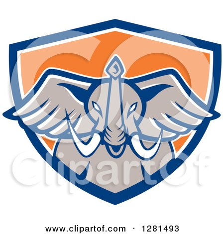 450x470 Clipart Of A Retro Angry Elephant Head In A Blue White And Orange