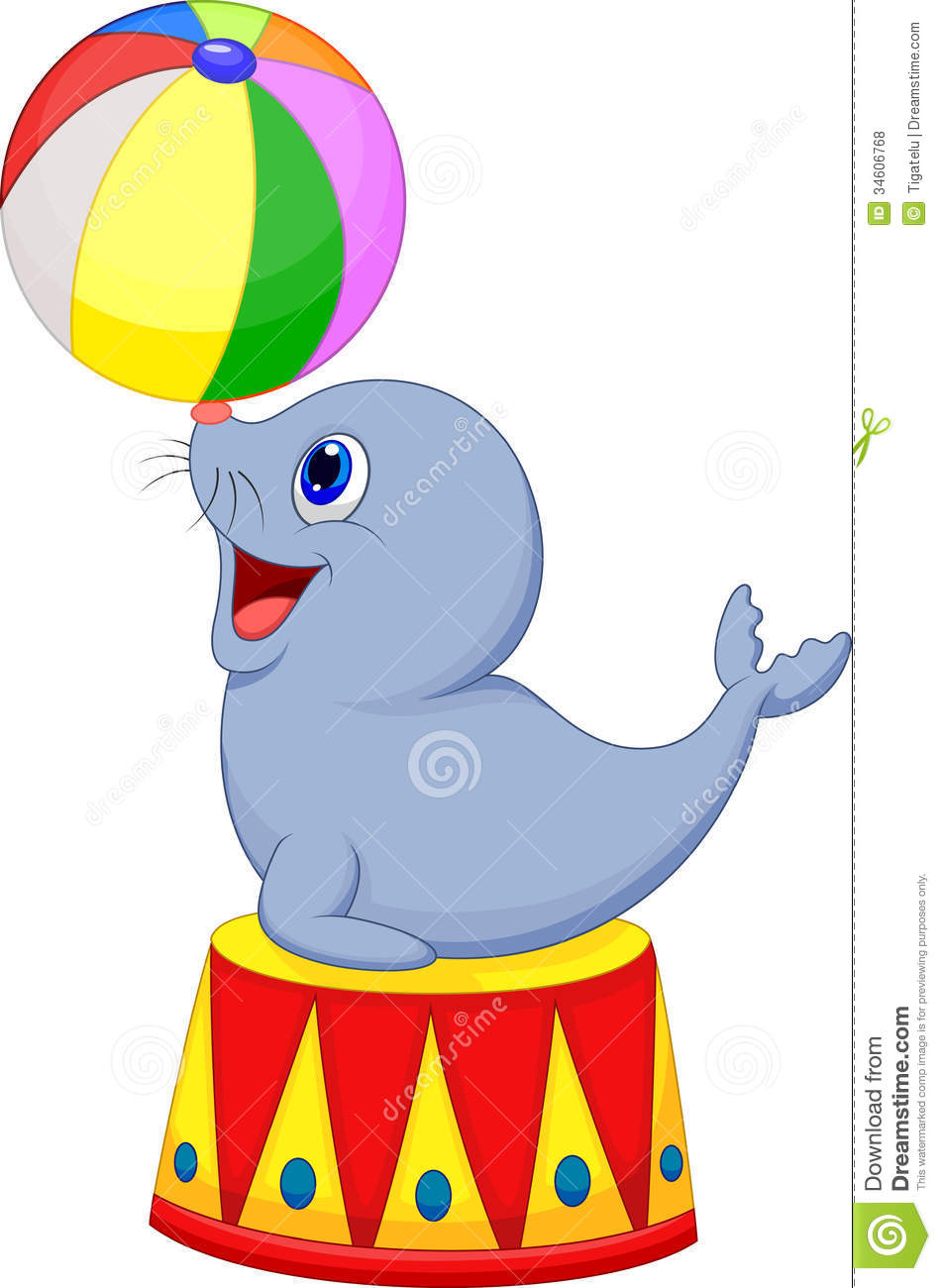 950x1300 Circus Cartoon Seal Playing A Ball