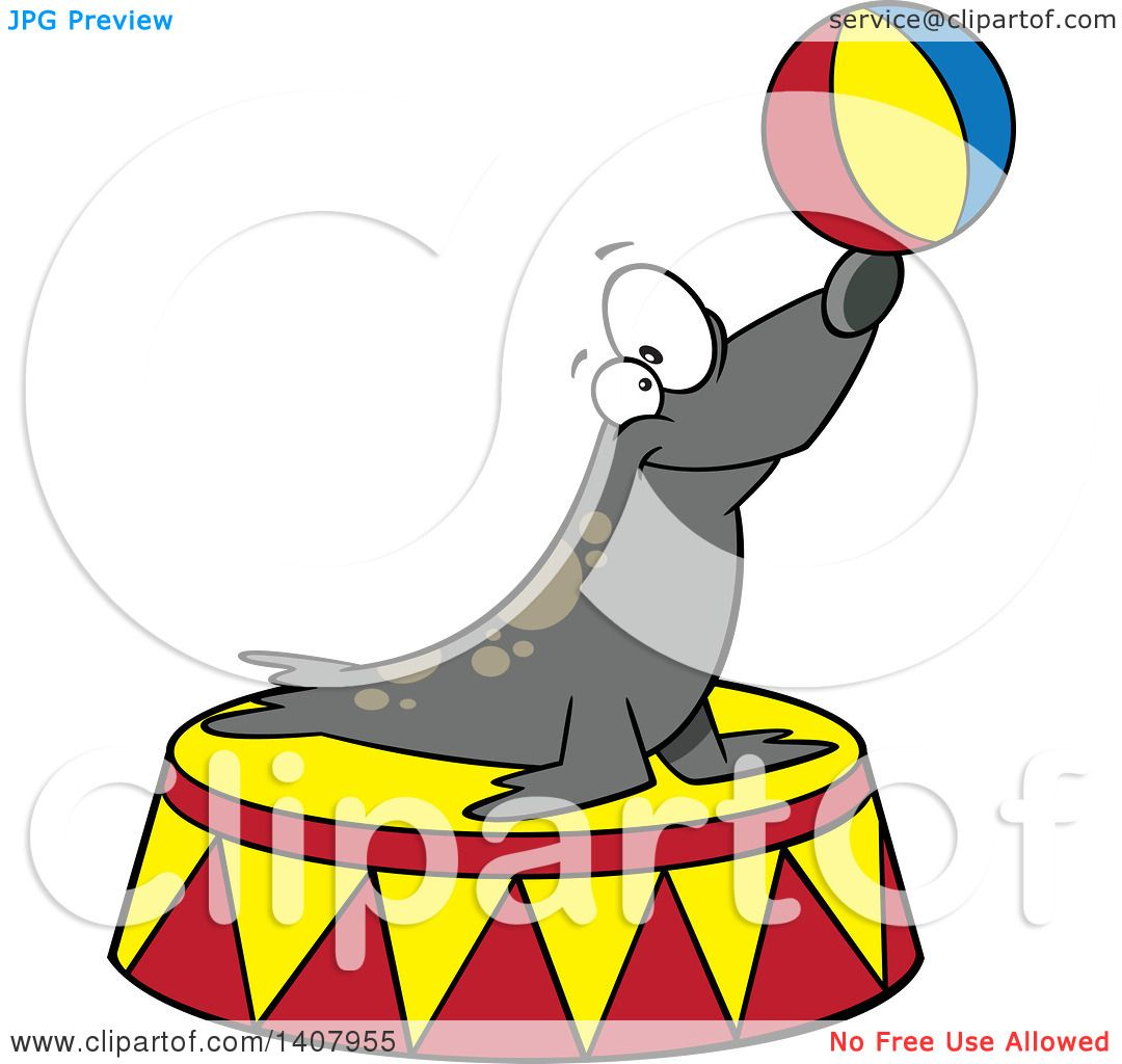 1080x1024 Clipart Of A Cartoon Circus Seal Balancing A Ball On His Nose