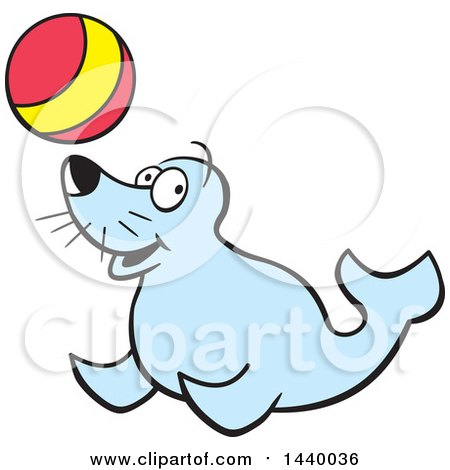 450x470 Clipart Of A Cartoon Happy Seal Playing With A Ball
