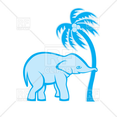 400x400 Elephant Is Shaking Out The Palm Tree Royalty Free Vector Clip Art