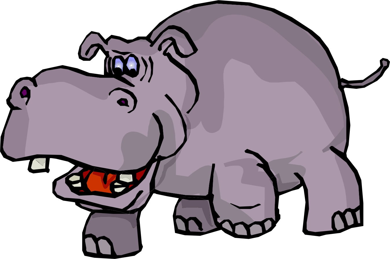 1347x896 Hippo Black And White Clipart