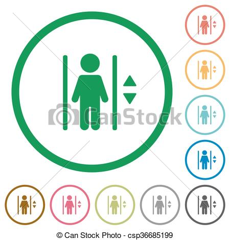 450x470 Elevator Outlined Flat Icons. Set Of Elevator Color Round Eps