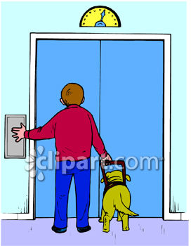 272x350 Blind Boy And His Seeing Eye Dog Waiting For An Elevator Clipart