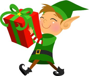 340x290 Clip Art Of A Grinning Elf Carrying A Large Wrapped Christmas Gift