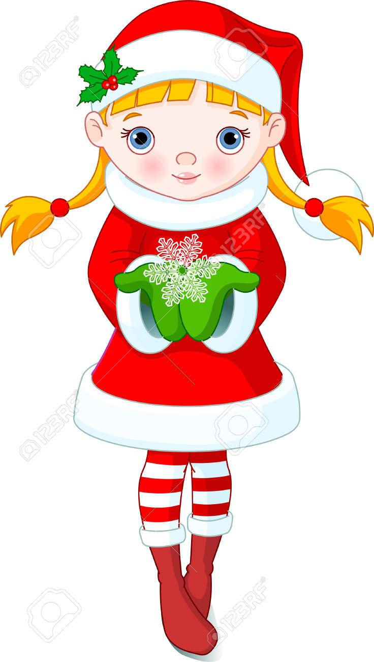 736x1300 Christmas Female Elves Clipart