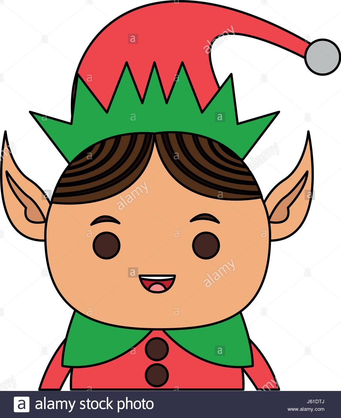 1136x1390 Color Image Cartoon Half Body Christmas Elf With Long Ears Stock