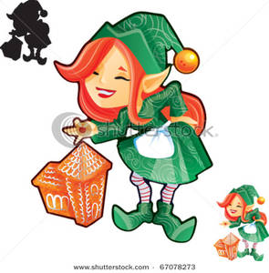 295x300 Clipart Image Elf Girl With Gingerbread Castle