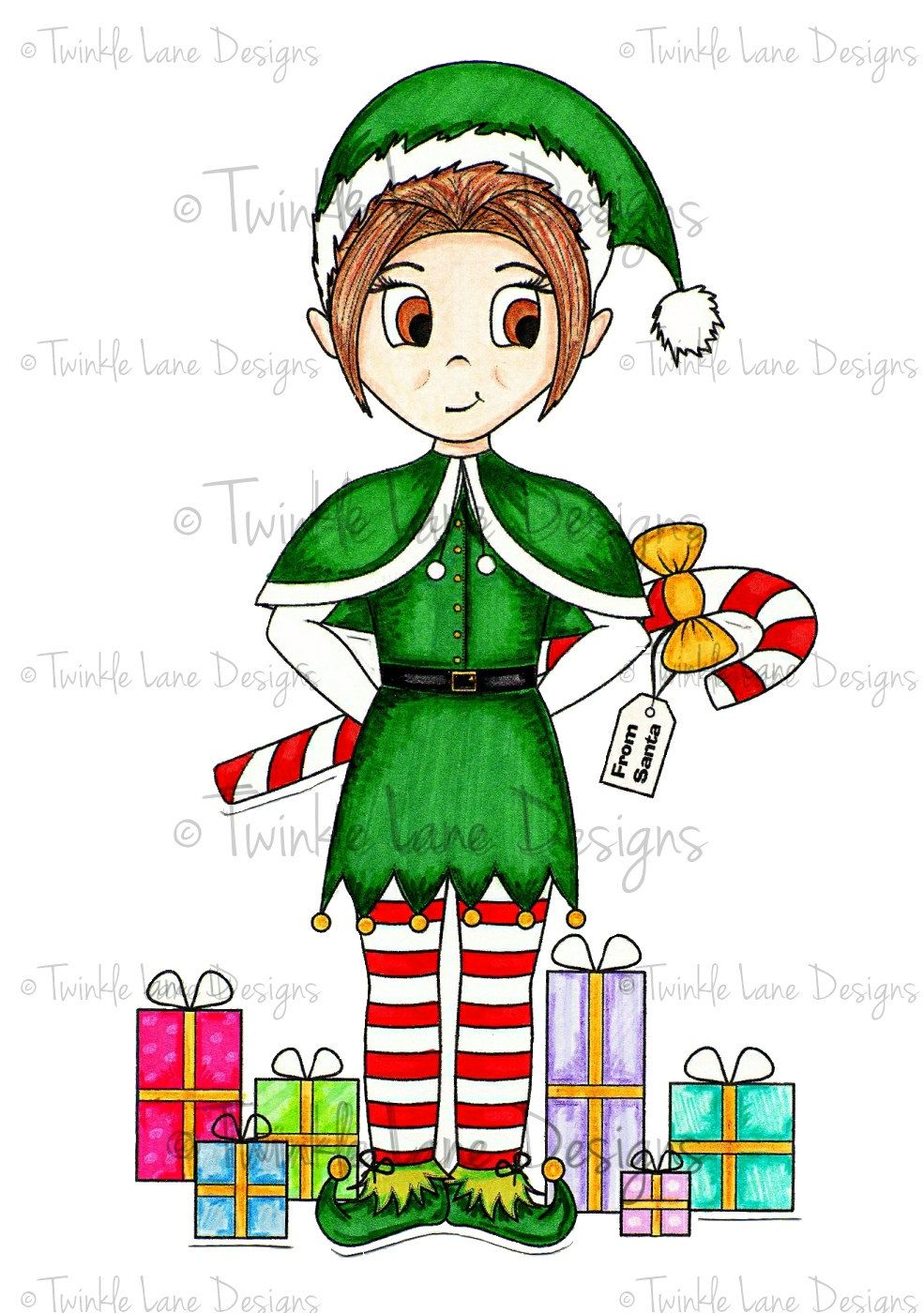 985x1400 Elf Clipart, Digi Stamp, Christmas Clipart, Adult Colouring