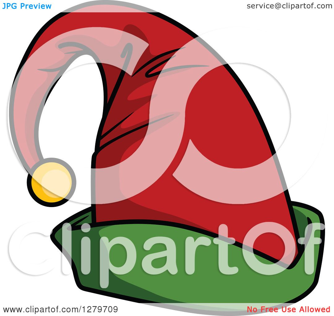 1080x1024 Clipart Of A Green And Red Christmas Elf Hat With A Bell