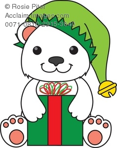 237x300 Royalty Free Clipart Illustration Of A Polar Bear In An Elf Hat