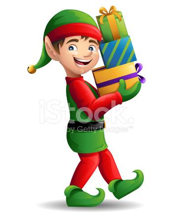 351x439 Christmas Elf Carrying Presents Stock Vector