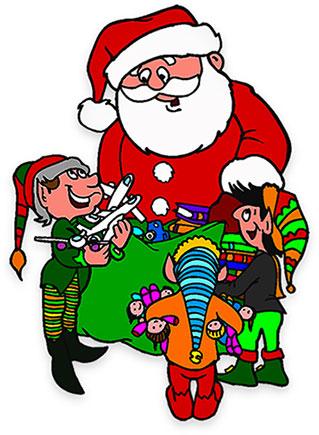 319x435 Santa And Elf Clipart