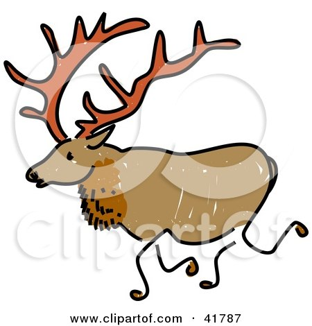 450x470 Clipart Illustration of a Sketched Elk by Prawny