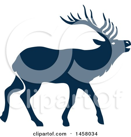 450x470 Clipart of a Black and White Elk
