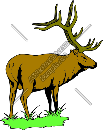 398x500 ELK 2 Clipart and Vectorart Animals