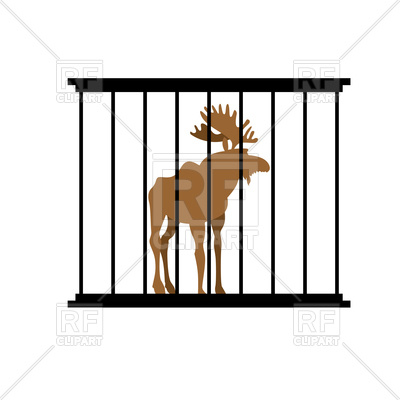 400x400 Elk in a cage. Animal in Zoo behind bars. Royalty Free Vector Clip